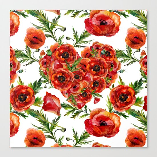 Poppy Heart pattern Canvas Print