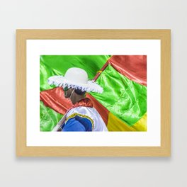 Costume Man and Flags at Carnival Parade of Uruguay Framed Art Print