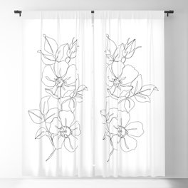 Floral one line drawing - Rose Blackout Curtain