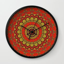 Mandala Fractal in Indian Summer 03 Wall Clock