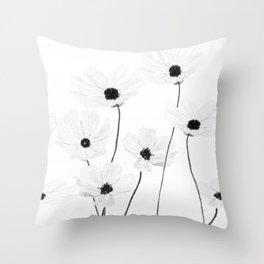 black and white cosmos Throw Pillow