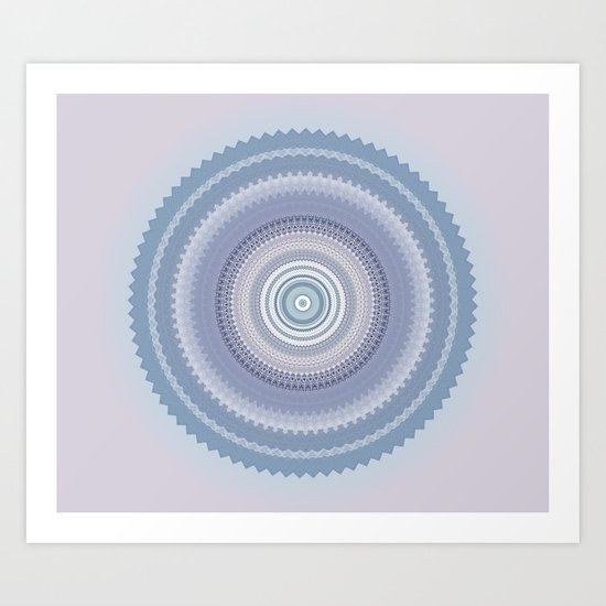 Inspirational Mandala in soft pastel colors of blue and lilac Art Print