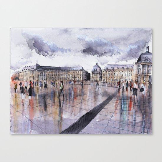 La Place de la Bourse - watercolor Canvas Print