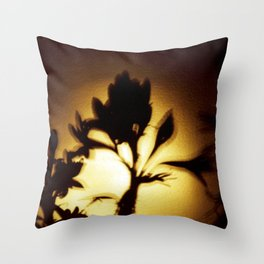 Yellow and Black Floral Shadow Art Print Throw Pillow
