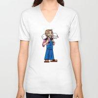 manga V-neck T-shirts featuring Manga Jesus by David Kryn