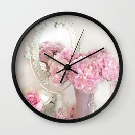 Shabby Chic Pink Peonies White Mirror Romantic Cottage Prints Home Decor Wall Clock