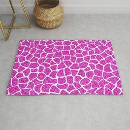 Pink Glitter Giraffe Print Rug