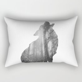 Wolf Silhouette | Forest Photography | Black and White Rectangular Pillow