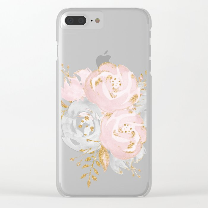 Night Rose Garden Gray Clear iPhone Case