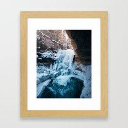 Johnston Canyon Waterfall Framed Art Print