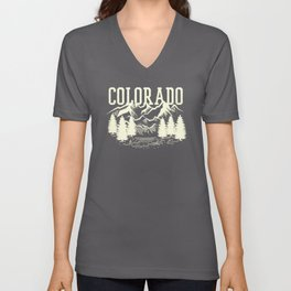 Colorado Gift Camping Hiking Colorado Rocky Mountains Unisex V-Neck