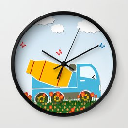 Cement mixer truck Wall Clock