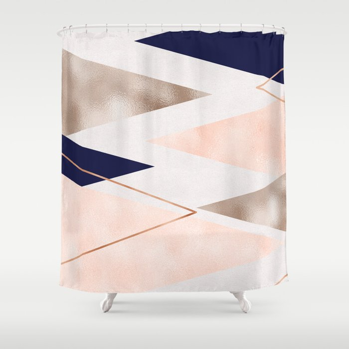 Rose Gold French Navy Geometric Shower Curtain