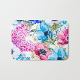 Spring Anemone Watercolor Blue Pink Bath Mat
