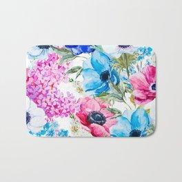 Spring Anemone Watercolor Blue Pink Bath Mat