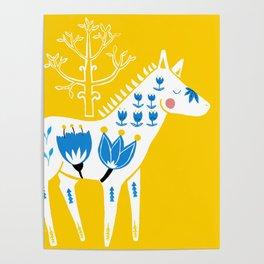 Folk horse on yellow Poster