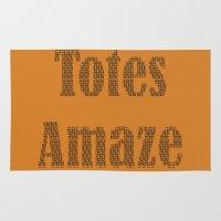 totes Area & Throw Rugs featuring Totes Amaze orange by PintoQuiff