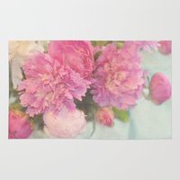 peonies Area & Throw Rugs featuring Peonies by Lisa Argyropoulos