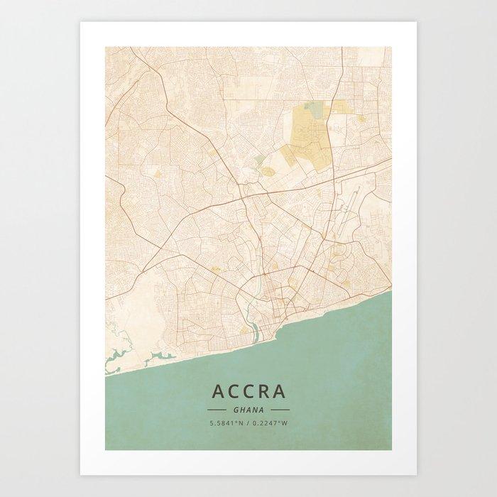 Accra, Ghana - Vintage Map Art Print by designermapart on khartoum sudan map, addis ababa map, nairobi kenya map, ghana world map, greater accra map, ghana street map, osu ghana map, malabo equatorial guinea map, legon ghana map, kampala-uganda map, grand trunk road india map, lagos nigeria map, ethiopia yemen map, ghana flag map, cape town south africa map, ghana geological map, west africa map, abidjan ivory coast map, tripoli libya map,