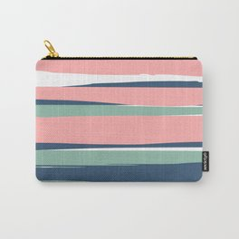 Modern Abstract Stripes Pattern, Blush Pink, Green, Blue Carry-All Pouch