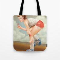pinup Tote Bags featuring Pinup by Morgan Soto