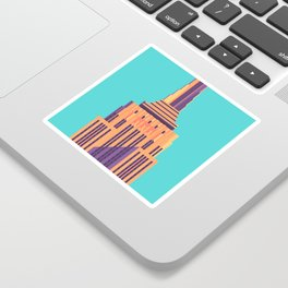 Empire State Building New York Art Deco - Cyan Sticker