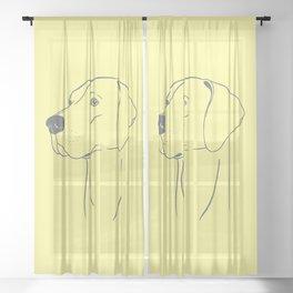 Weimaraner (Yellow and Gray) Sheer Curtain