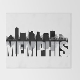 Memphis Silhouette Skyline Throw Blanket