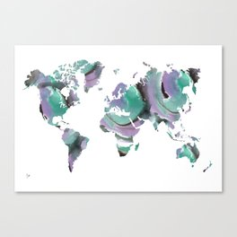 Watercolor World Map (black/purple/green) Canvas Print