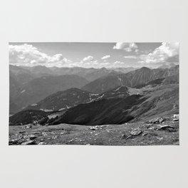 panorama on adventure park hög alps serfaus fiss ladis tyrol austria europe black white Rug