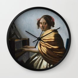 Johannes Vermeer - A Young Woman Seated at the Virginals Wall Clock