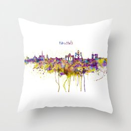 Brussels Skyline Silhouette Throw Pillow