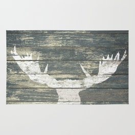 Rustic White Moose Silhouette A424a Rug