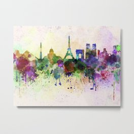 Paris skyline in watercolor background Metal Print