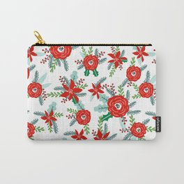 Poinsettia florals christmas festive holiday tradition thanksgiving red and white floral bouquet Carry-All Pouch
