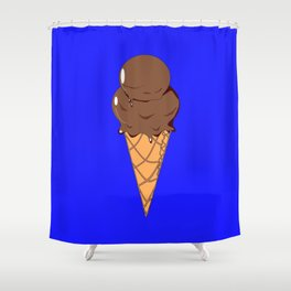 A Chocolate Ice Cream Cone with Blue Background, Summer Fun Shower Curtain