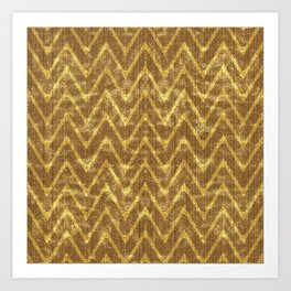 Faux Suede Chocolate and Gold Chevron Pattern Art Print