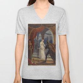 Vintage Romeo and Juliet Painting (1861) Unisex V-Neck