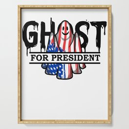 Ghost Elected Cute Halloween Spirit in American Flag Light Serving Tray