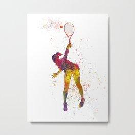 Woman plays tennis in watercolor 06 Metal Print