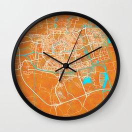 Leeuwarden, Netherlands, Gold, Blue, City, Map Wall Clock