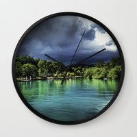 jamaica Wall Clocks featuring Jamaica  by Lawrence Gregorek