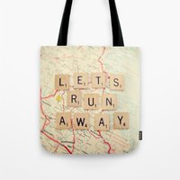 run Tote Bags featuring let's run away by shannonblue