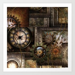 Steampunk, wonderful clockwork with gears Art Print