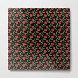 Elegant classy delicate dark red blooming roses flowers seamless pattern design. Feminine subtle Metal Print