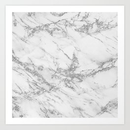 Elegant chic white gray silver glitter marble Art Print