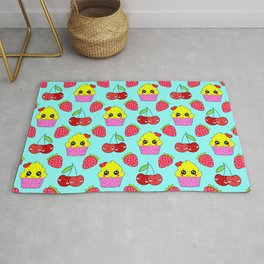 Cute funny sweet adorable happy little yellow baby cupcakes, little cherries and red ripe summer strawberries cartoon fantasy light pastel blue pattern design Rug