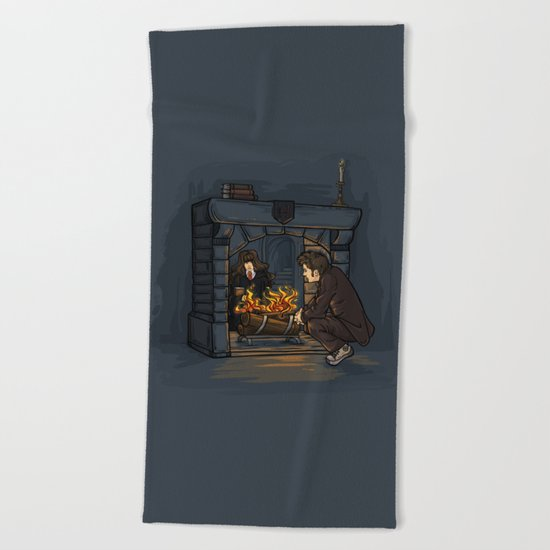 The Witch in the Fireplace Beach Towel
