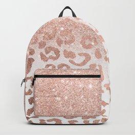 Trendy modern faux rose gold glitter ombre leopard pattern Backpack