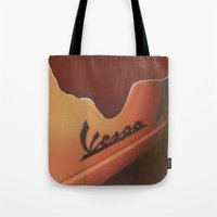 vespa Tote Bags featuring Vespa by Leandro